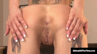 Short Haired Anna Bell Peaks Spreads Her Inked Ass Cheeks For Hot RimJob!